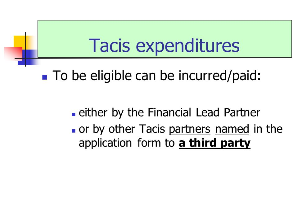 Tacis expenditures To be eligible can be incurred/paid: either by the Financial Lead Partner or by other Tacis partners named in the application form to a third party