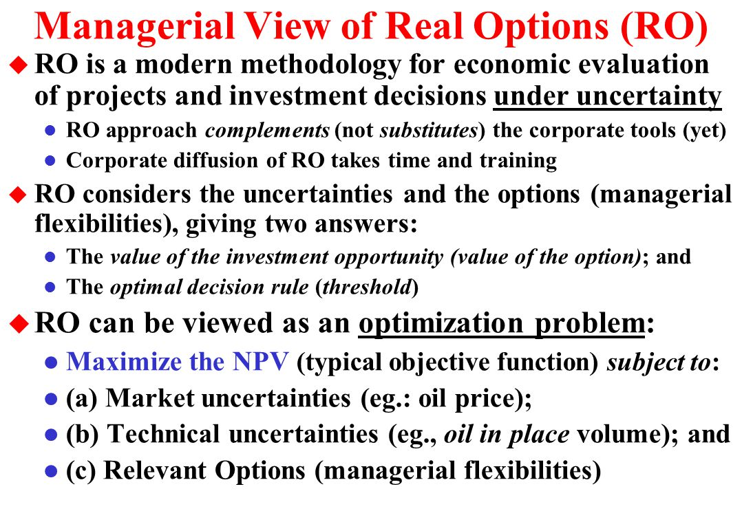 Threshold Curves for Three Alternatives u There are regions of wait and see and others that the immediate investment is optimal for each alternative Investments D3 > D2 > D1