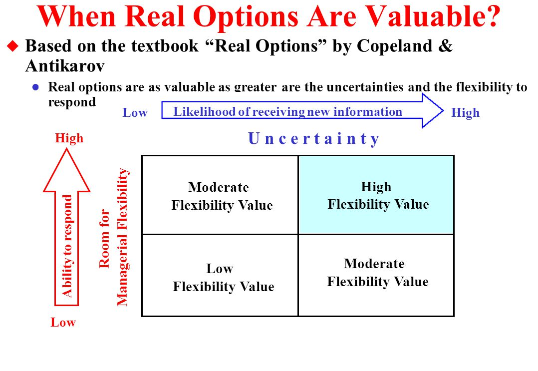 Alternative 0 and the Total Technical Uncertainty u Alternative Zero: Not invest in information l This case there is only a single scenario, the current expectation l So, we run economics with the expected value for the reserve B: E(B) = 100 + (0.5 x 100) + (0.5 x 100) + (0.5 x 100) E(B) = 250 MM bbl u But the true value of B can be as low as 100 and as higher as 400 MM bbl.