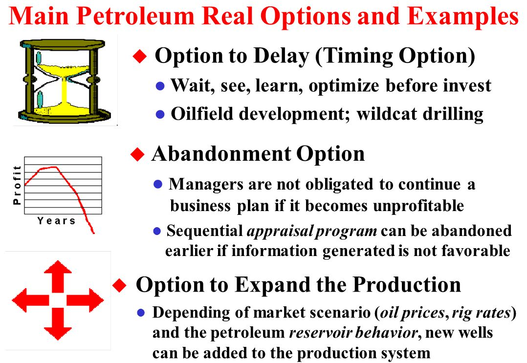 Option to Expand the Production u Analyzing a large ultra-deepwater project in Campos Basin, Brazil, we faced two problems: l Remaining technical uncertainty of reservoirs is still important.
