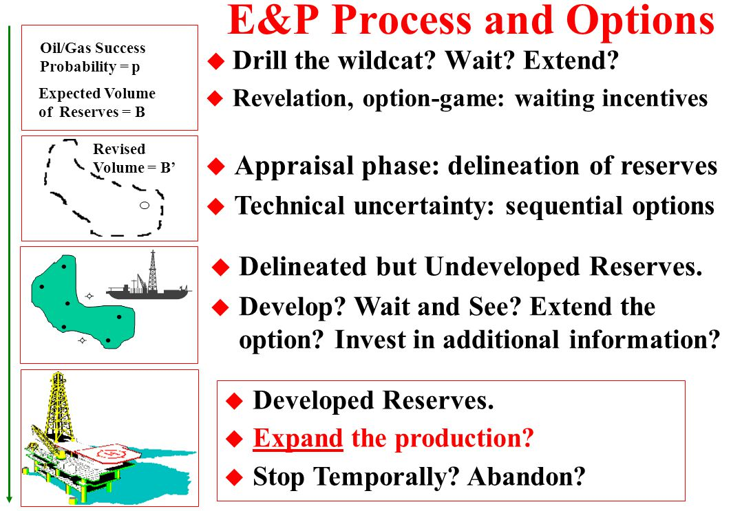 Threshold Curves for Three Alternatives u There are regions of wait and see and others that the immediate investment is optimal for each alternative I