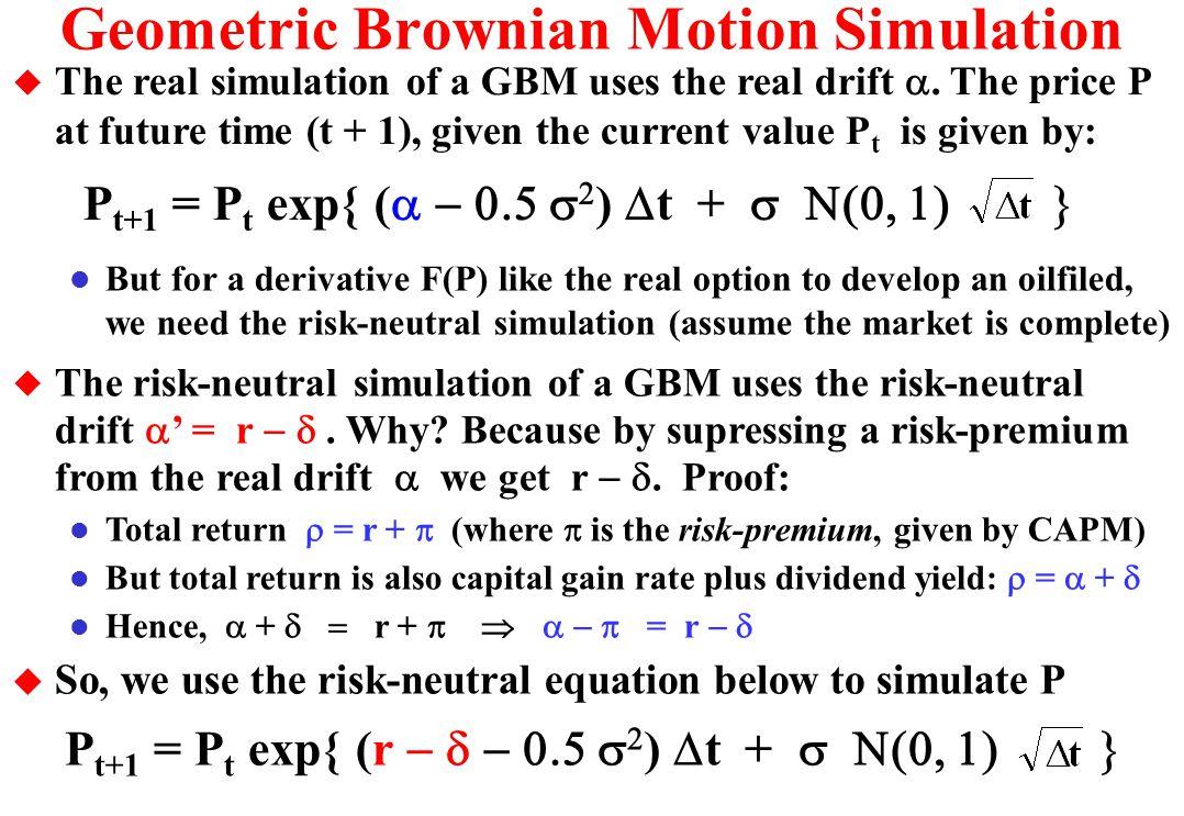 Estimating the Model Parameters u How to estimate the value of underlying asset V? l Transactions in the developed reserves market (USA) è v = value o