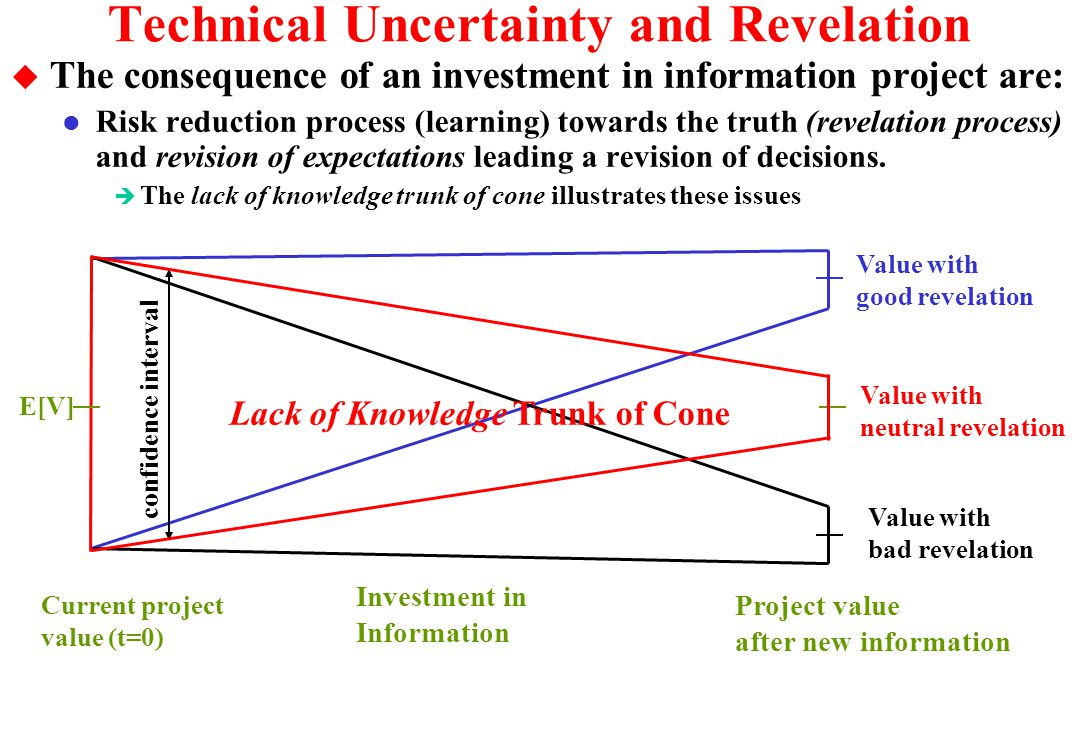 Technical Uncertainty and Risk Reduction u Technical uncertainty decreases when efficient investments in information are performed (learning process).