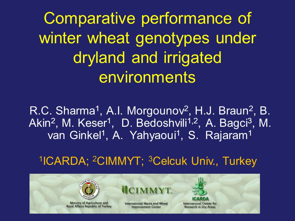 Abbreviations IWWIP : International Winter Wheat Improvement Program IWWYT : International Winter Wheat Yield Trial SA : Semi-arid IR : Irrigated CWANA: Central and West Asia and North Africa