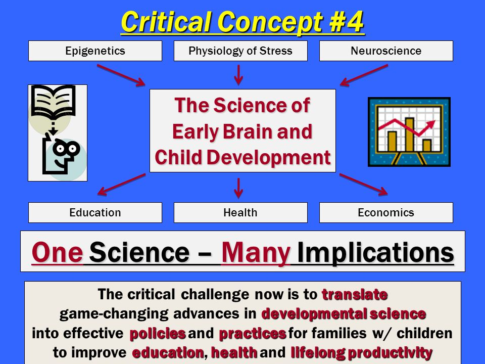 Critical Concept #4 The Science of Early Brain and Child Development EpigeneticsPhysiology of StressNeuroscience EducationHealthEconomics One Science – Many Implications translate The critical challenge now is to translate developmental science game-changing advances in developmental science policies practices into effective policies and practices for families w/ children educationhealthlifelong productivity to improve education, health and lifelong productivity