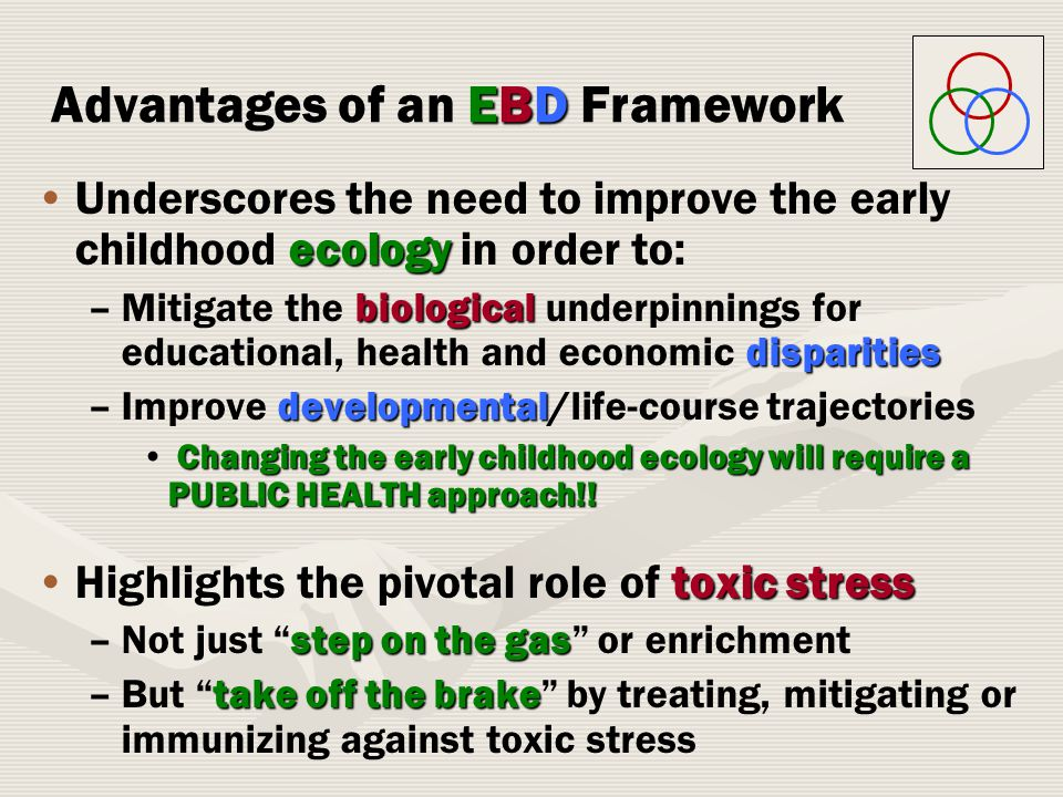 ecologyUnderscores the need to improve the early childhood ecology in order to: –biological disparities –Mitigate the biological underpinnings for educational, health and economic disparities –developmental –Improve developmental/life-course trajectories Changing the early childhood ecology will require a PUBLIC HEALTH approach!.