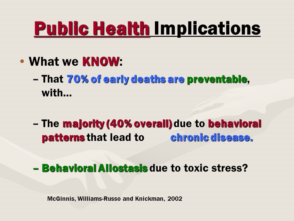 Public Health Public Health Implications KNOWWhat we KNOW: –70% of early deaths are preventable –That 70% of early deaths are preventable, with… – majority (40% overall) behavioral patterns chronic disease.