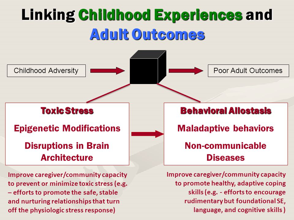 Childhood AdversityPoor Adult Outcomes Linking Childhood Experiences and Adult Outcomes Toxic Stress Epigenetic Modifications Disruptions in Brain Architecture Behavioral Allostasis Maladaptive behaviors Non-communicable Diseases Improve caregiver/community capacity to prevent or minimize toxic stress (e.g.