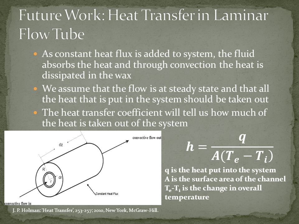As constant heat flux is added to system, the fluid absorbs the heat and through convection the heat is dissipated in the wax We assume that the flow is at steady state and that all the heat that is put in the system should be taken out The heat transfer coefficient will tell us how much of the heat is taken out of the system q is the heat put into the system A is the surface area of the channel T e -T i is the change in overall temperature J.