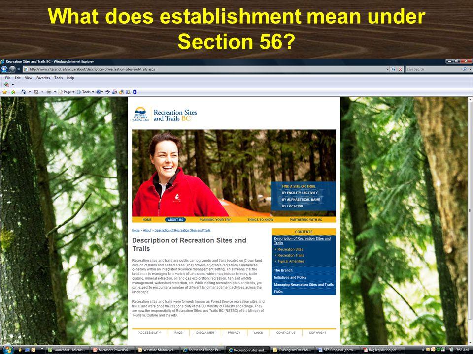 What does establishment mean under Section 56