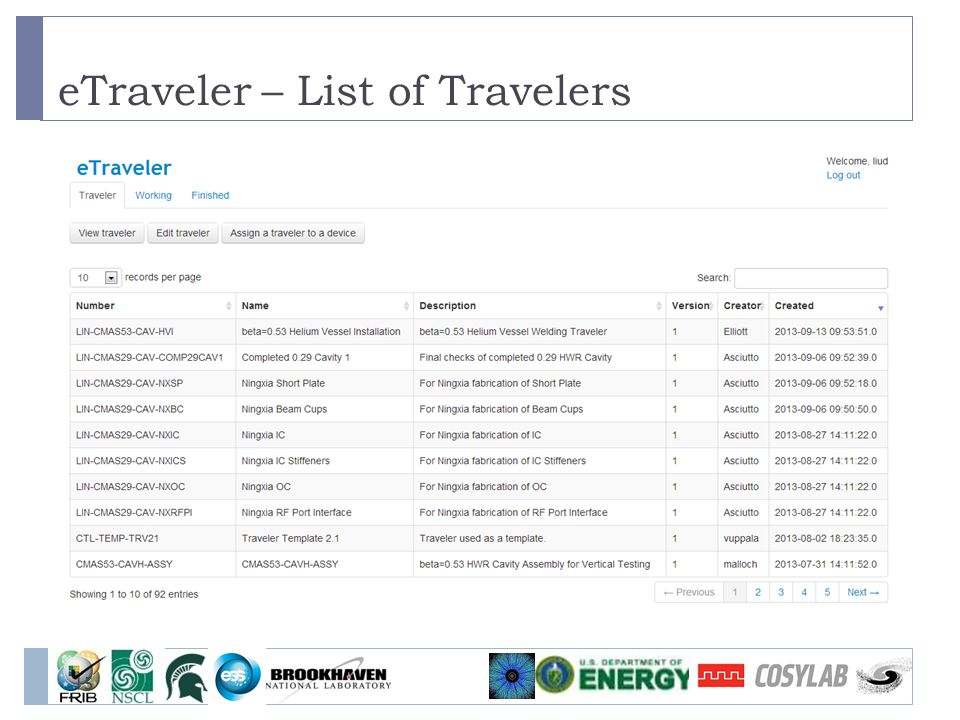 eTraveler – List of Travelers 15