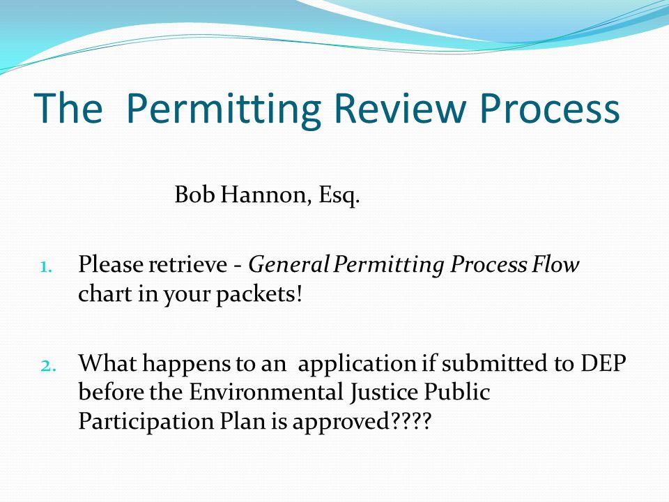 The Permitting Review Process Bob Hannon, Esq. 1.