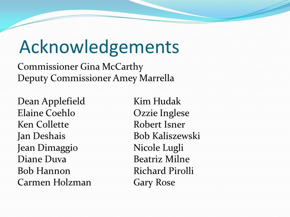 Acknowledgements Commissioner Gina McCarthy Deputy Commissioner Amey Marrella Dean Applefield Kim Hudak Elaine Coehlo Ozzie Inglese Ken Collette Rober