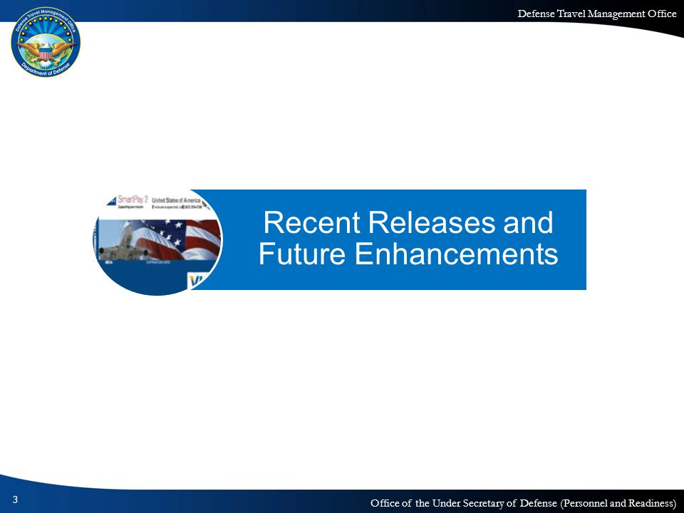Defense Travel Management Office Office of the Under Secretary of Defense (Personnel and Readiness) Recent Releases – Fall 2008 Release 3 – FY Crossover Release 4 –Cancel Link –Import/Export Release 5 – New Government Travel Charge Card 4