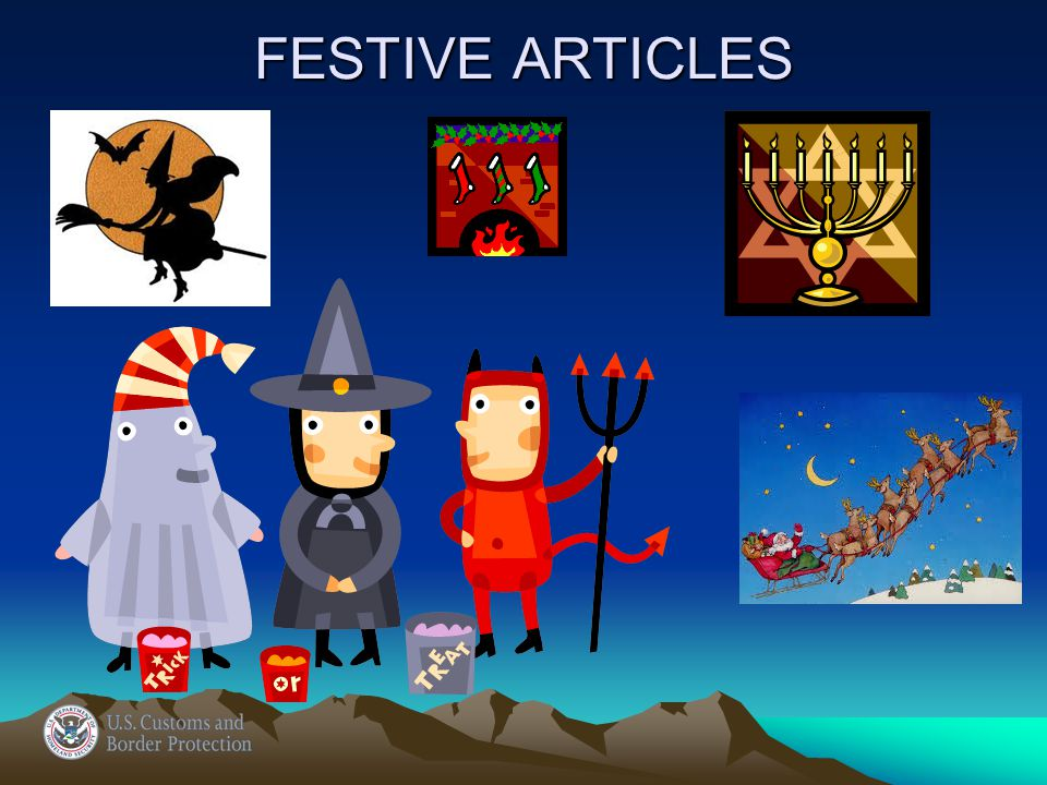 9505.90.6000 Festive Articles… Other: Other Halloween, Easter, Thanksgiving, etc.