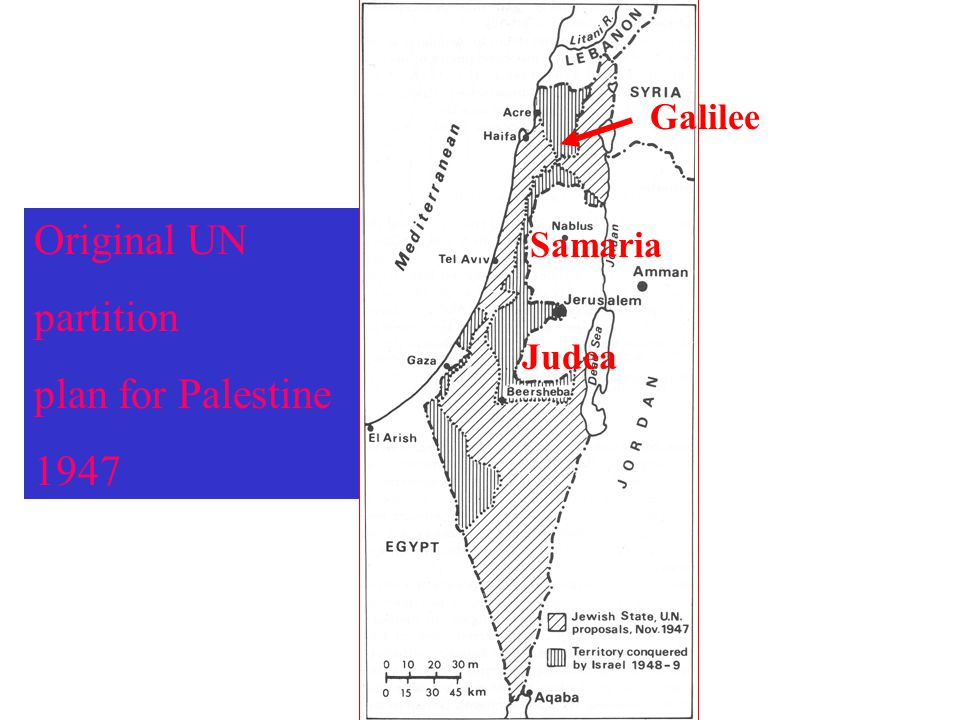 Original UN partition plan for Palestine 1947 Galilee Samaria Judea
