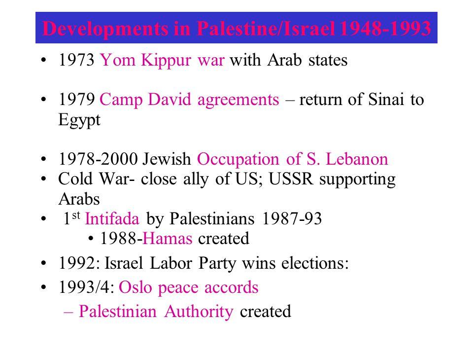 1973 Yom Kippur war with Arab states 1979 Camp David agreements – return of Sinai to Egypt 1978-2000 Jewish Occupation of S. Lebanon Cold War- close a