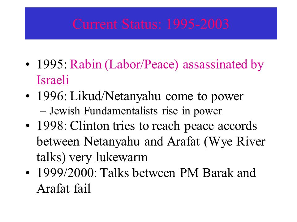 Current Status: 1995-2003 1995: Rabin (Labor/Peace) assassinated by Israeli 1996: Likud/Netanyahu come to power –Jewish Fundamentalists rise in power