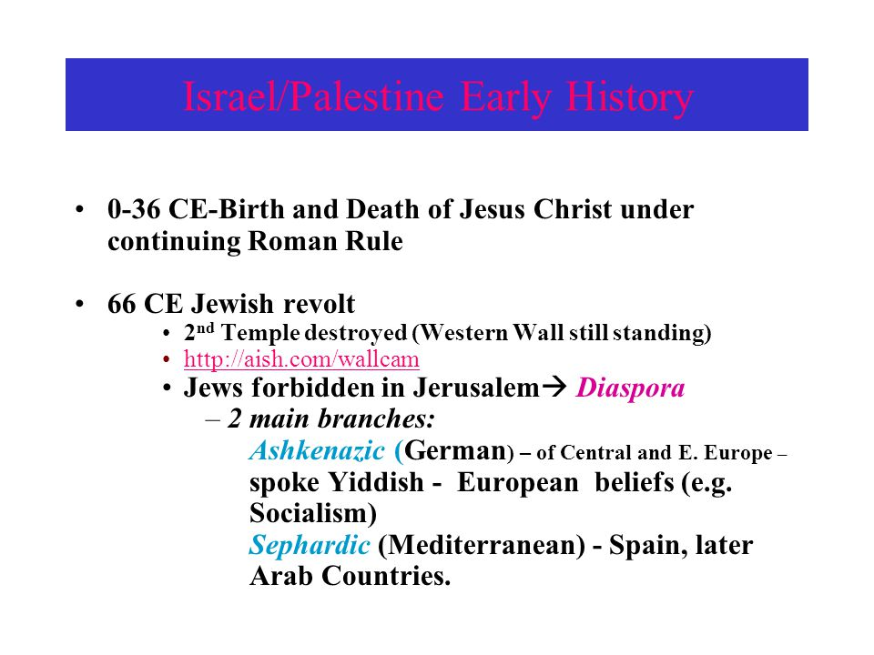 Israel/Palestine Early History C.