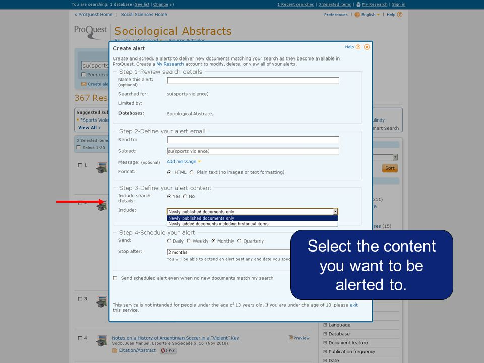 Select the content you want to be alerted to.