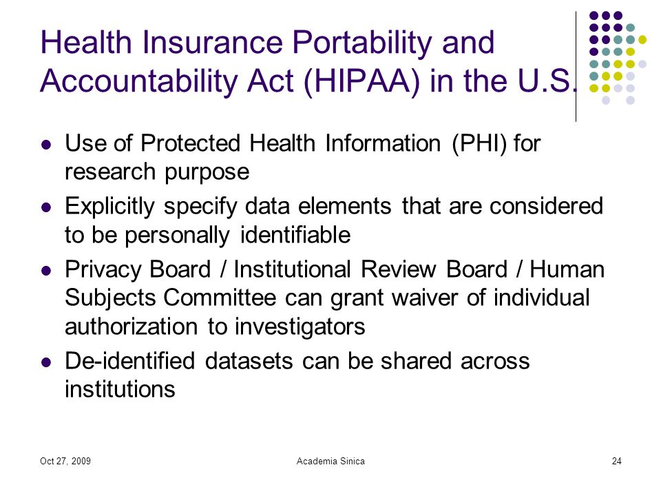 Oct 27, 2009Academia Sinica24 Health Insurance Portability and Accountability Act (HIPAA) in the U.S.