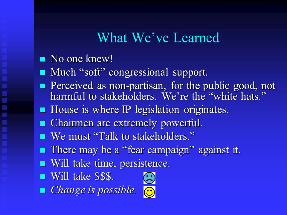 What We've Learned No one knew. No one knew. Much soft congressional support.