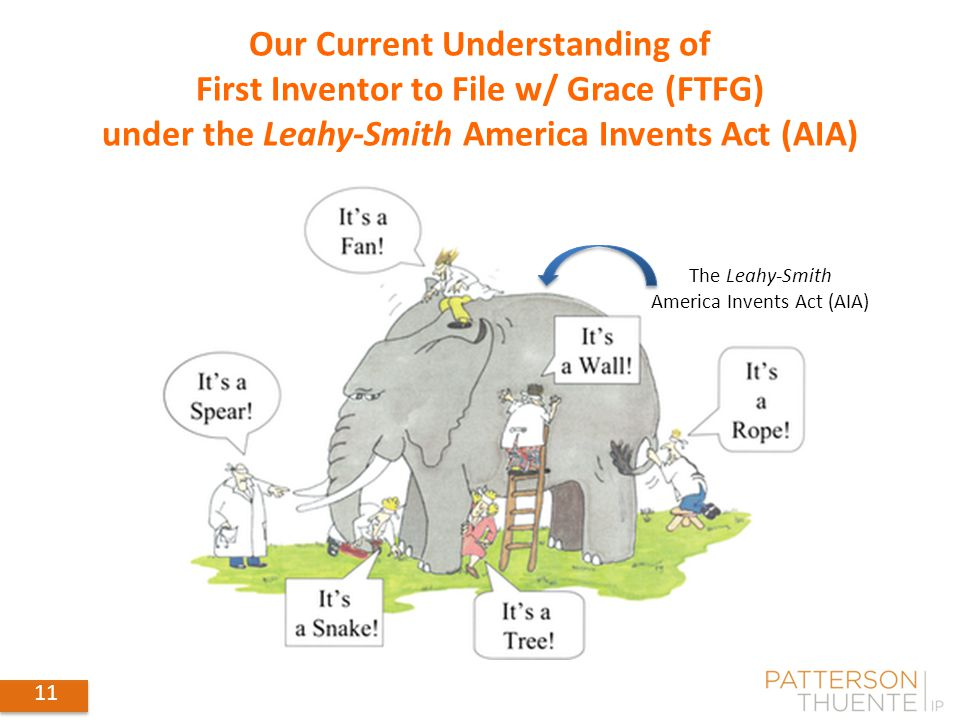 11 Our Current Understanding of First Inventor to File w/ Grace (FTFG) under the Leahy-Smith America Invents Act (AIA) 11 The Leahy-Smith America Invents Act (AIA)