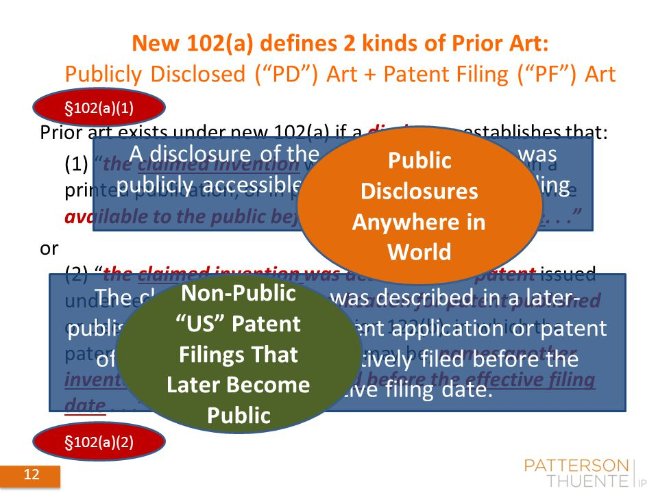 "12 Prior art exists under new 102(a) if a disclosure establishes that: (1) ""the claimed invention was patented, described in a printed publication, or"
