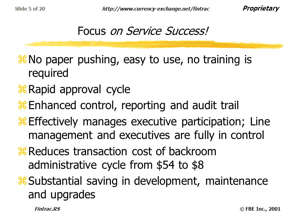 Proprietary   Fintrac.RS© FBE Inc., 2001 Slide 5 of 20 Focus on Service Success.