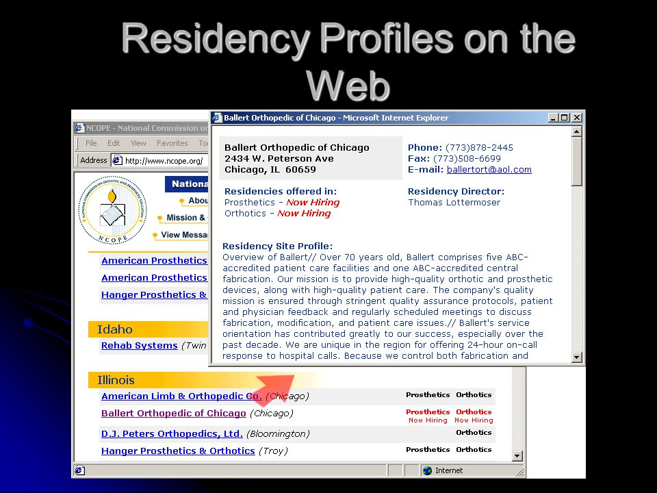 Residency Profiles on the Web