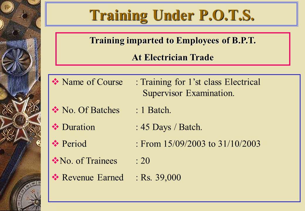 Training Under P.O.T.S.