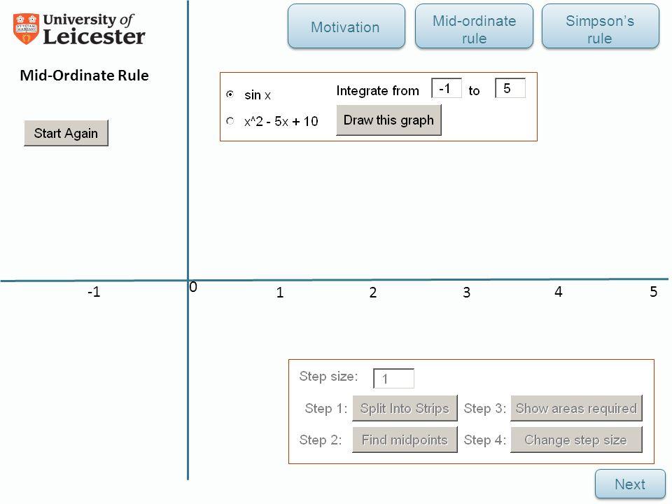 4 2 0 5 31 Mid-Ordinate Rule Next Mid-ordinate rule Simpson's rule Motivation