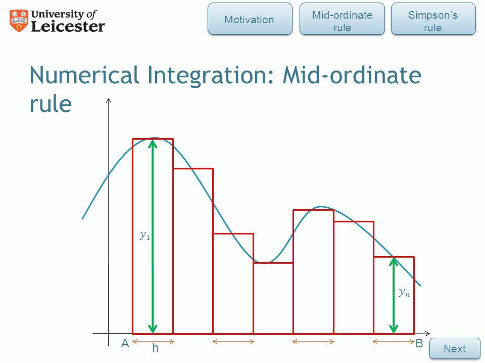 Numerical Integration: Mid-ordinate rule h AB Mid-ordinate rule Simpson's rule Motivation Next