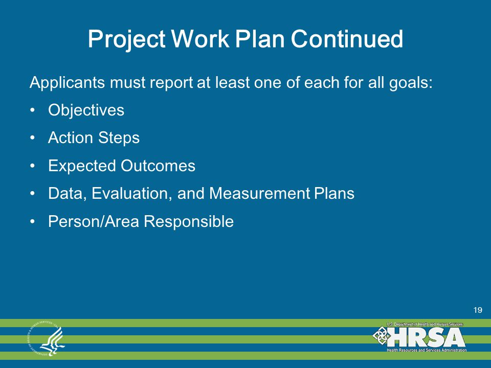 Project Work Plan Continued Applicants must report at least one of each for all goals: Objectives Action Steps Expected Outcomes Data, Evaluation, and Measurement Plans Person/Area Responsible 19