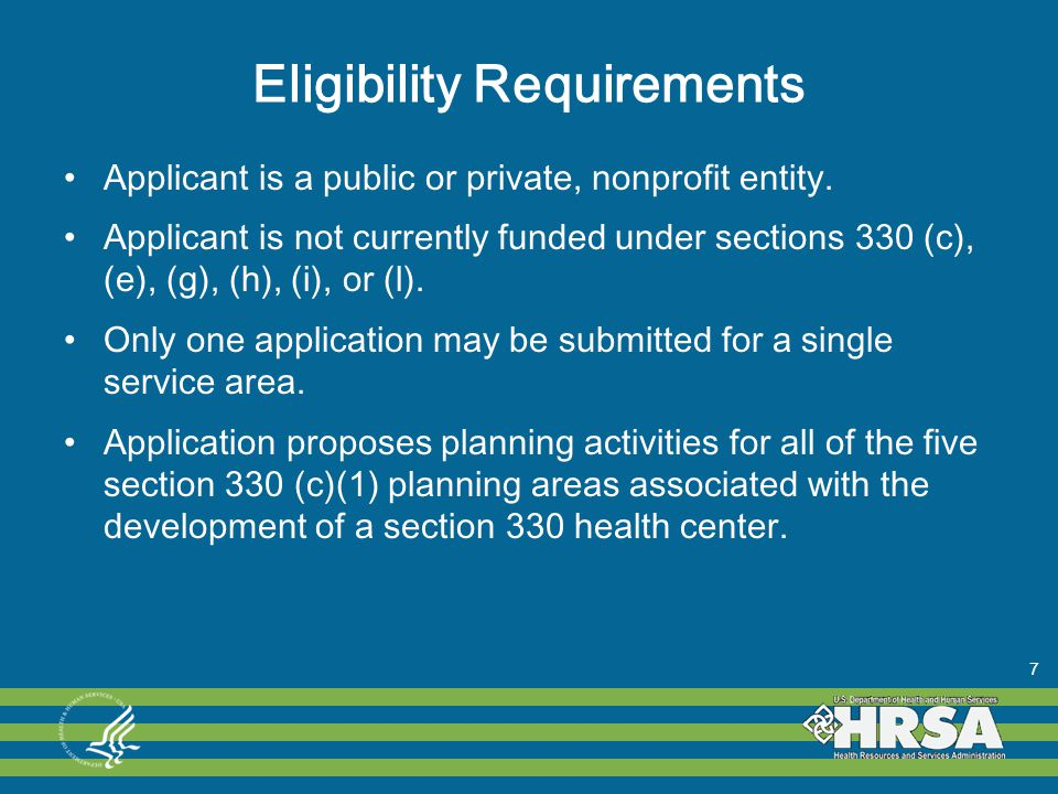 Eligibility Requirements Applicant is a public or private, nonprofit entity.