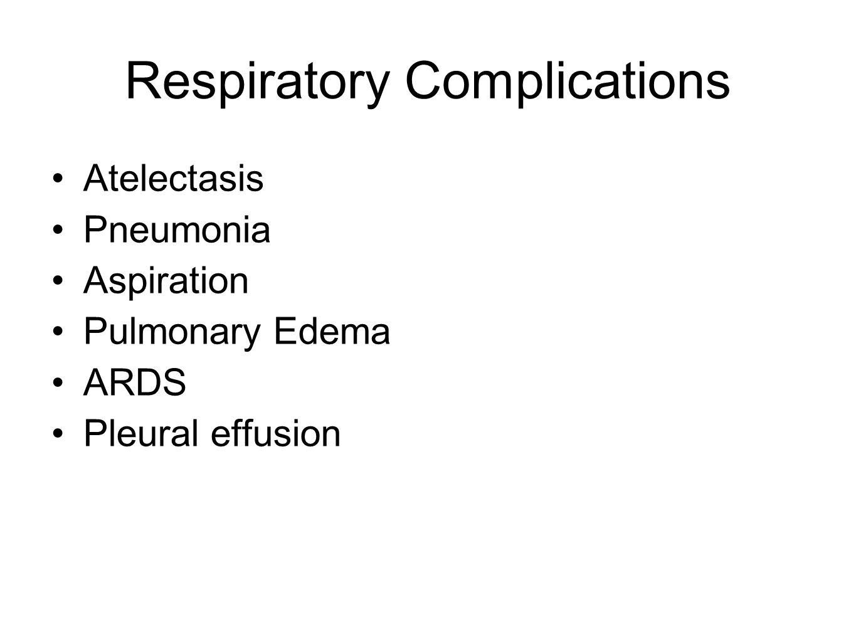 Respiratory Complications Atelectasis Pneumonia Aspiration Pulmonary Edema ARDS Pleural effusion