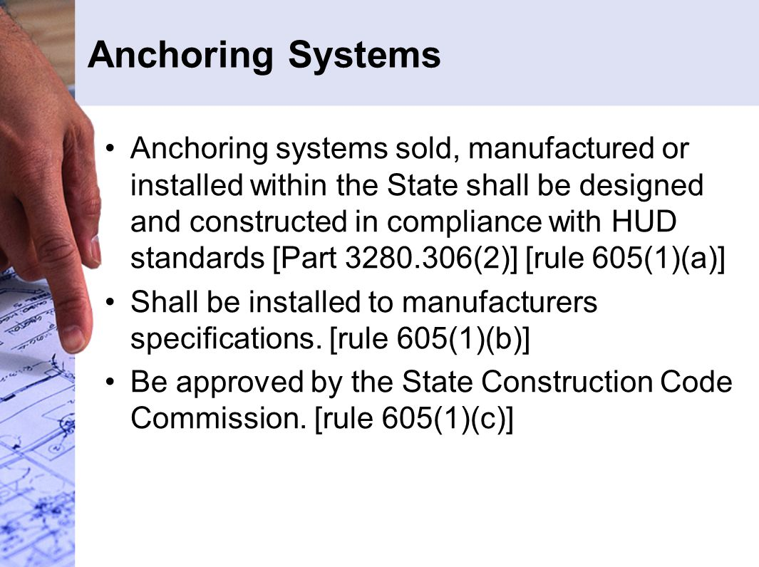 Anchoring Systems Anchoring systems sold, manufactured or installed within the State shall be designed and constructed in compliance with HUD standard