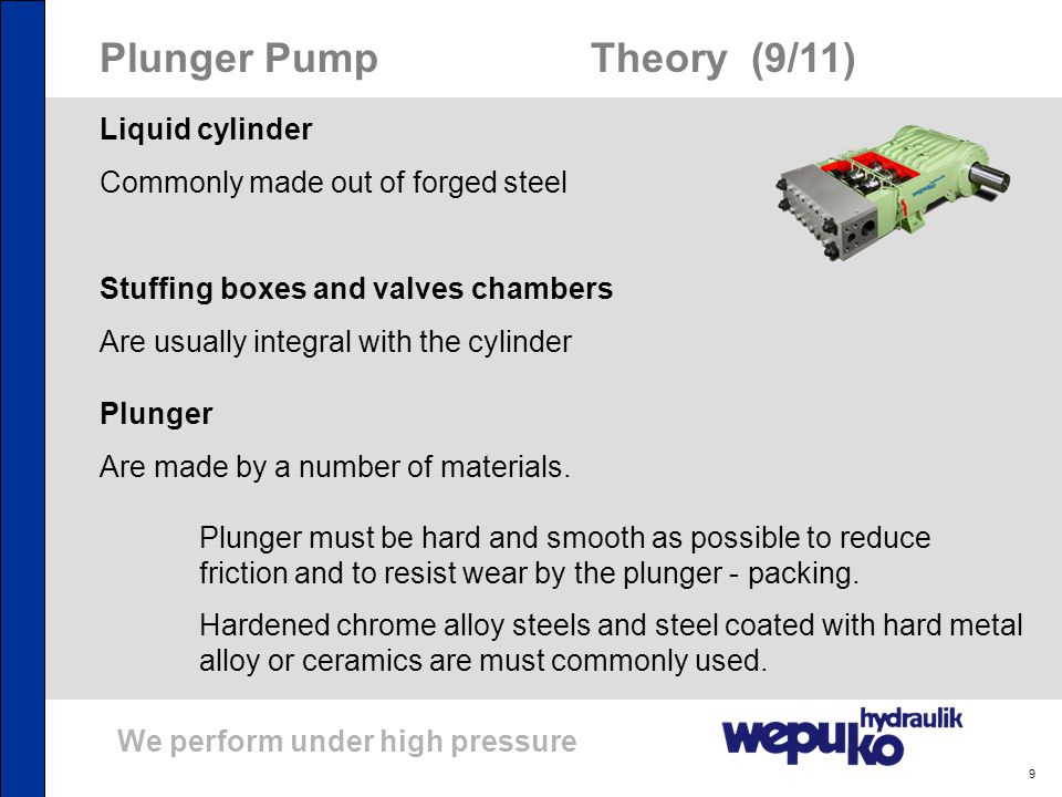 We perform under high pressure 9 Plunger Pump Theory (9/11) Liquid cylinder Commonly made out of forged steel Stuffing boxes and valves chambers Are u