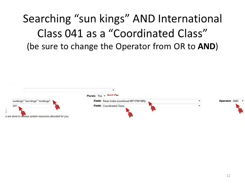 Searching sun kings AND International Class 041 as a Coordinated Class (be sure to change the Operator from OR to AND) 12