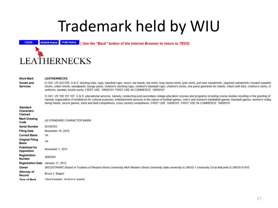 Trademark held by WIU 27
