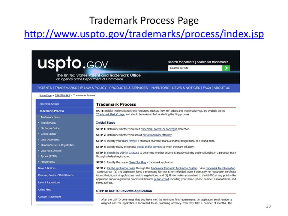 Trademark Process Page http://www.uspto.gov/trademarks/process/index.jsp http://www.uspto.gov/trademarks/process/index.jsp 28