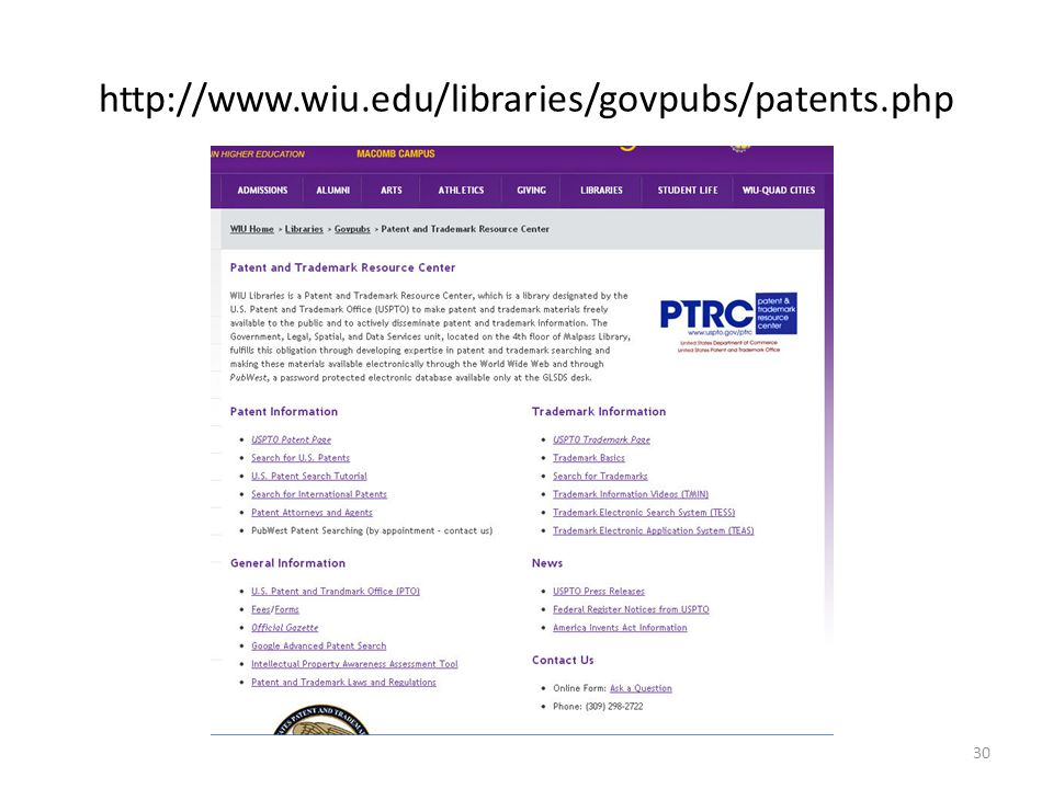 http://www.wiu.edu/libraries/govpubs/patents.php 30