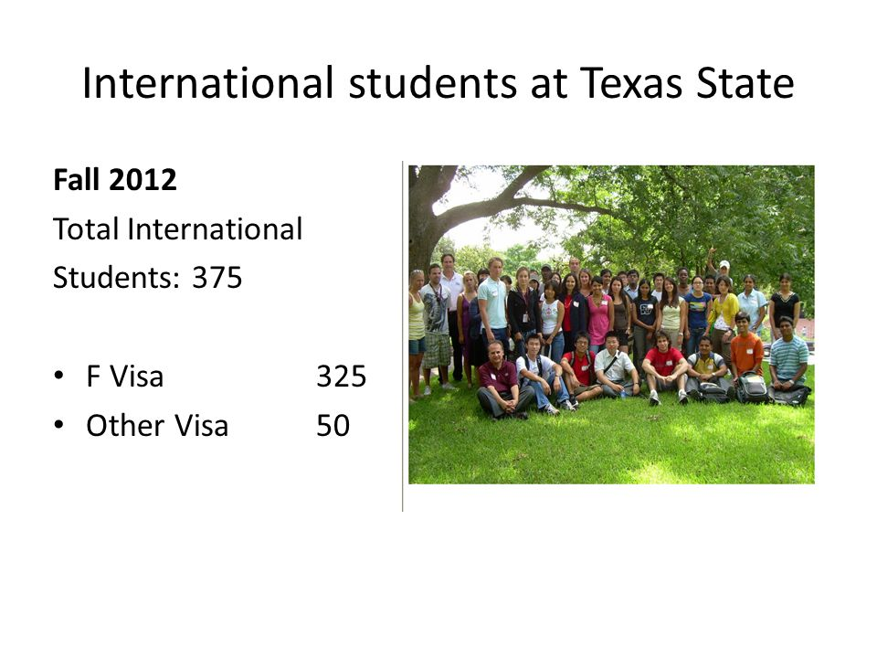 International students at Texas State Fall 2012 Total International Students: 375 F Visa 325 Other Visa 50
