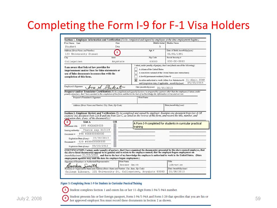Completing the Form I-9 for F-1 Visa Holders July 2, 200859