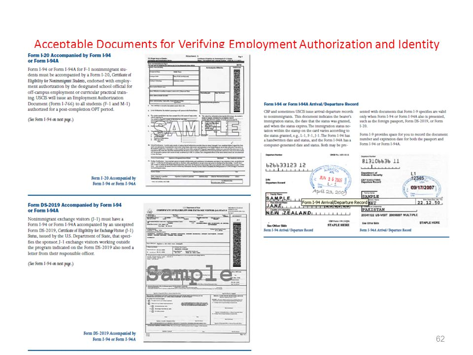 Acceptable Documents for Verifying Employment Authorization and Identity 62