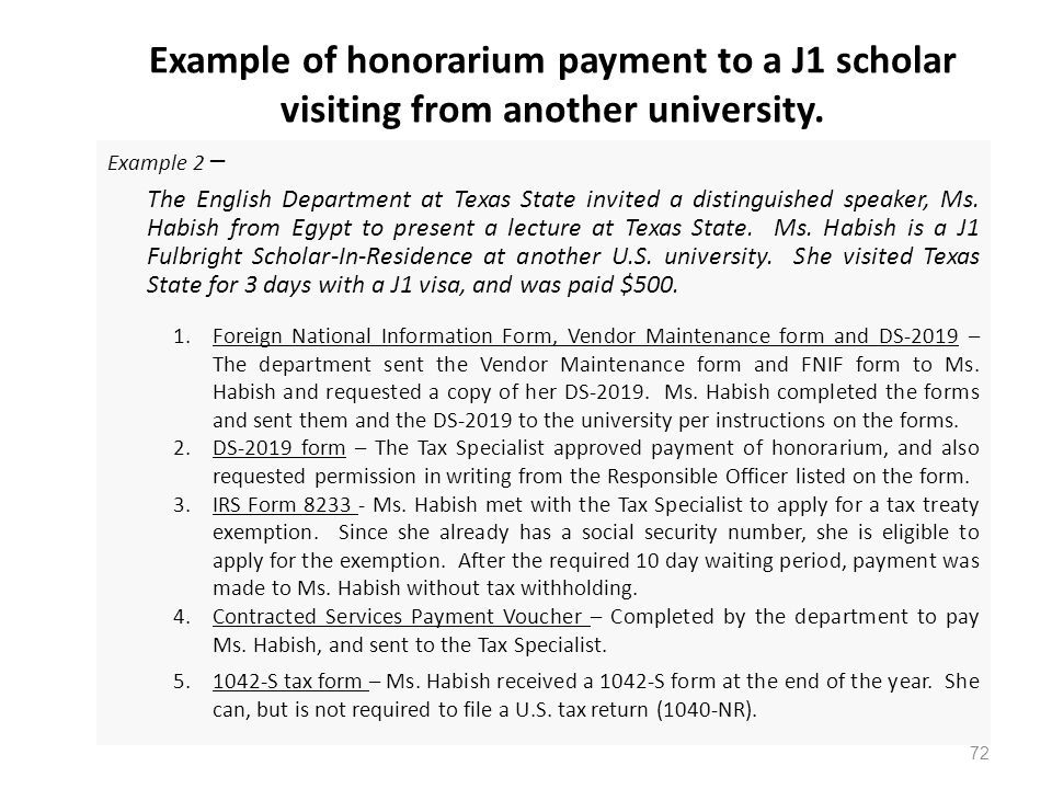 Example of honorarium payment to a J1 scholar visiting from another university.