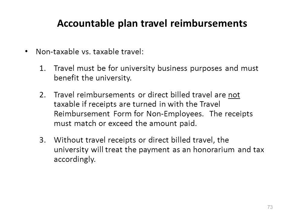 Accountable plan travel reimbursements Non-taxable vs.