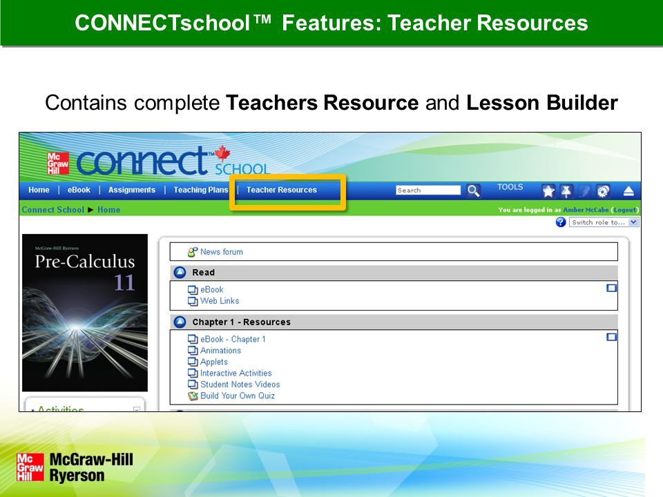 Contains complete Teachers Resource and Lesson Builder CONNECTschool™ Features: Teacher Resources