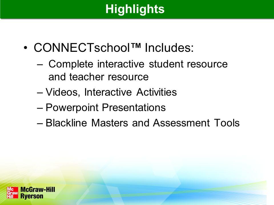 Navigating the CONNECTschool™ Homepage Main Menu: eBook, Assignments, Teaching Plans, Teacher Resources