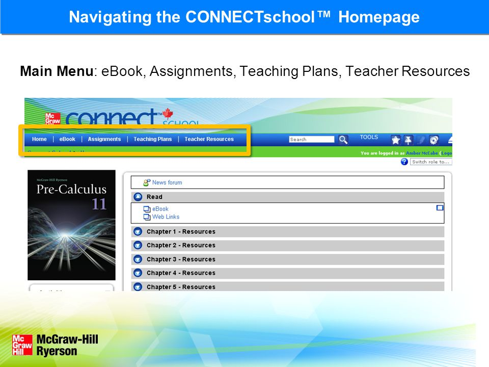 Navigating the CONNECTschool™ Homepage Chapter and Unit Resources
